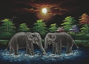 Thailand Paintings - Two Thai Elephants plays together by Charles Goh