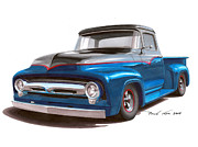 Ford Truck Drawings - Two Tone to Know by Paul Kim
