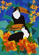 Floral Tapestries - Textiles - Two Toucans by Jean Baardsen