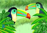 Toucan Digital Art Posters - Two Toucans Poster by Nick Gustafson