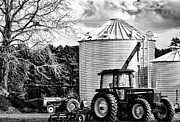 Feed Mill Posters - Two Tractors Poster by Kelly Reber