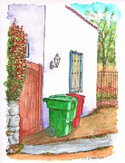 Cans Paintings - Two trash cans in Hollywood Hills - Los Angeles - California by Carlos G Groppa