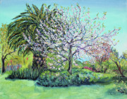 Landscape-like Art Paintings - Two Trees Like Springtime Lovers by Asha Carolyn Young
