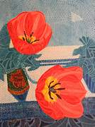 Still Life Paintings - Two Tulips by Adel Nemeth