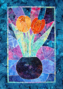 Art Glass Tapestries - Textiles - Two Tulips by Jean Baardsen