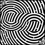 Tunnel Drawings Prints - Two Tunnel Illusion Maze  Print by Yonatan Frimer Maze Artist