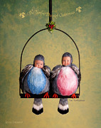 Christmas Art Prints - Two Turtle Doves Print by Anne Geddes