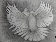 Dove Drawings Metal Prints - Two Turtle Doves Metal Print by Carol Frances Arthur
