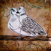 Love Songs Drawings Framed Prints - Two Turtle Doves Framed Print by LeNae Goolsby