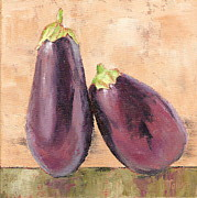 Italian Restaurant Posters - Two Tuscan Eggplants Poster by Pam Talley