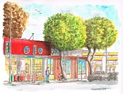 Urban  Drawings Paintings - Two tween trees in Santa Monica Blvd - Santa Monica - CA by Carlos G Groppa