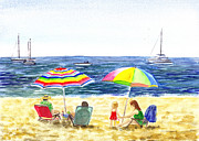 Sand Painting Originals - Two Umbrellas On The Beach California  by Irina Sztukowski