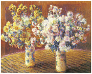 Mums Paintings - Two Vases of Chrysanthemums by Claude Monet