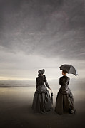 Conversing Framed Prints - Two Victorian Women On The Beach Framed Print by Lee Avison
