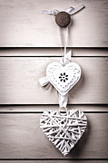 Rustic Art - Two vintage hearts by Jane Rix