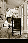 Rocking Chairs Metal Prints - Two Vintage Rockers Metal Print by Colleen Kammerer