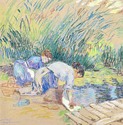 France Pastels Framed Prints - Two Washerwomen Framed Print by Jean Baptiste Armand Guillaumin