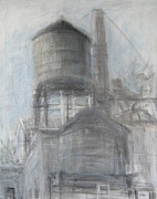 Greenwich Village Paintings - Two Water Towers by Steve Dininno