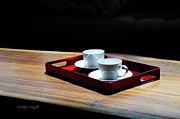 Illustrative Framed Prints - Two White Cups On A Red Tray Framed Print by Paulette Wright