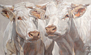 Etes Paintings - Two White French Calves by Anke Classen