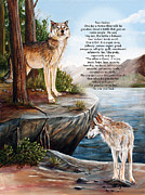 Landscape Posters Painting Framed Prints - Two Wolves- poster Framed Print by Dorothy Riley