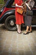 Patterned Dress Prints - Two Women In 1940s Clothing Wait By A Vintage Car Print by Lee Avison