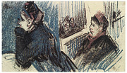 Theatre Drawings - Two Women in a Box at the Theatre by Vincent Van Gogh