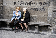 Stone Bench Prints - Two Women in Naples Print by Jim  Calarese
