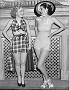Two Piece Prints - Two Women Model Swimwear Print by Underwood Archives