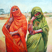 Mohamed Fadul Art - Two women by Mohamed Fadul