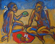 Enjoying Prints - Two Women On The Beach - Female Nude Print by Carmen Tyrrell