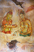 Ceylon Prints - Two Women with Flowers. Sigiriya Cave Fresco Print by Jenny Rainbow
