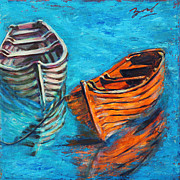 Xueling Zou Acrylic Prints - Two Wood Boats Acrylic Print by Xueling Zou