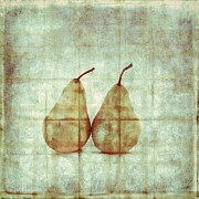 Gray Blue Posters - Two Yellow Pears on Folded Linen Poster by Carol Leigh