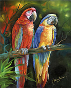 Macaw Art Paintings - Twos Company by Kathy Brecheisen