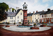 Clocks Painting Framed Prints - Twyn Square Usk Wales Framed Print by Andrew Read
