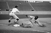 Mlb Metal Prints - Ty Cobb sliding Metal Print by Sanely Great