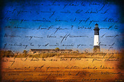 Illustrative Posters - Tybee Island Lighthouse - A Sentimental Journey Poster by Mark E Tisdale