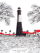 Buildings Drawings Drawings Framed Prints - Tybee Island Lighthouse Framed Print by Frederic Kohli