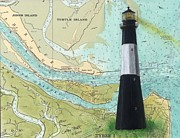 Ocean Turtle Paintings - Tybee Island Lighthouse GA Nautical Chart Map Art Cathy Peek by Cathy Peek