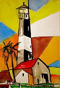 Sunset Drawings Originals - Tybee Lighthouse by Pete Maier