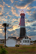 American Flag Framed Prints - Tybee Lighthouse Framed Print by Peter Tellone
