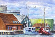 Sailboats Drawings Framed Prints - Tyboron Harbour in Denmark Framed Print by Carol Wisniewski