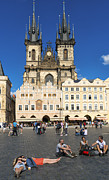 Town Square Prints - Tyn church in Prague Czech Republic Europe Print by Matthias Hauser