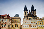 Town Square Prints - Tyn Church in Prague Print by Michal Bednarek