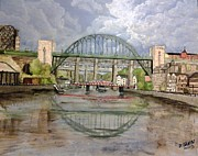 City Scape Paintings - Tyne Bridge by Fiona Glass W by Fiona Glass W