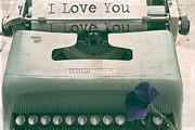 First Love Acrylic Prints - Typewriter Love Acrylic Print by Georgia Fowler