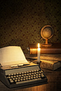 Glow Art - Typewriter with globe by Christopher and Amanda Elwell