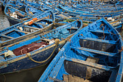 Moroccan Posters - Typical Essaouira blue fishing boats Poster by Ruben Vicente