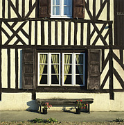 Architecture Prints - Typical house  half-timbered in Normandy. France. Europe Print by Bernard Jaubert